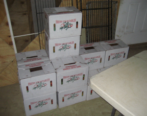 "Grab one! Boxes ready for ""farm pick-up"" members in the shed"
