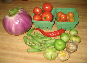 CSA week 8: eggplant, tomatoes, jimmy nardello pepper, tomatillos, okra!!, (sharer got the watermelon)