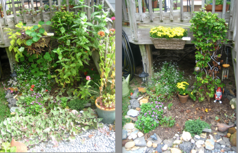 deck garden - before and after fall cleanup